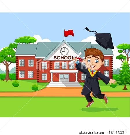 Cartoon graduation boy in front of school building 58138034