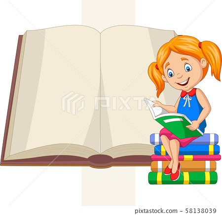 Little girl reading books sitting on pile of books 58138039