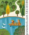 호수에서 보트를 타는 가족 58138386