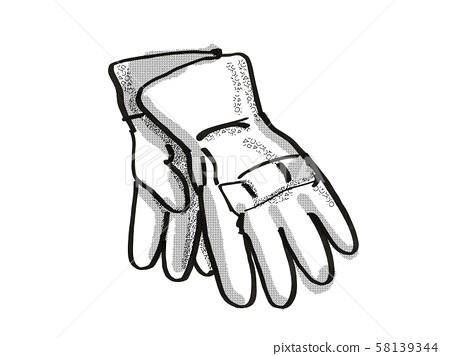 gardening gloves Garden Tool Cartoon Retro Drawing 58139344