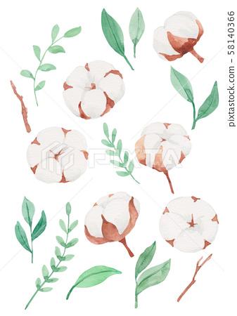 聖誕節植物水彩棉和樹葉 58140366