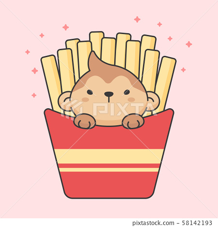 Cute monkey in french fries box 58142193