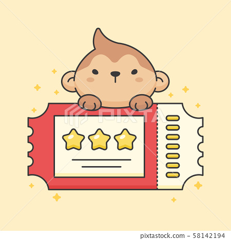 Cute monkey on top of ticket 58142194