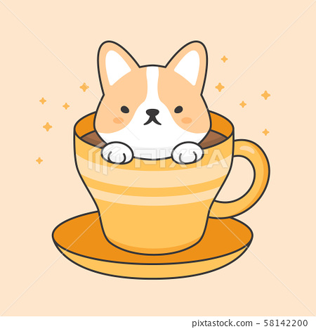 Cute corgi dog in a cup of coffee 58142200