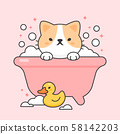 Cute cat in a bathtub and duck rubber 58142203
