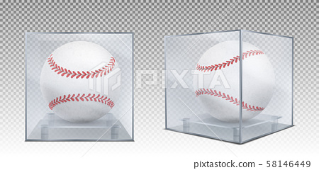 Baseball balls in glass case front and corner view 58146449