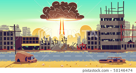 Nuclear bomb explosion in ruined city vector 58146474