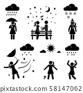 Stick figure woman weather icon vector set pictogram. Raining, snowing, storm, wind, sunny day flat style silhouette 58147062