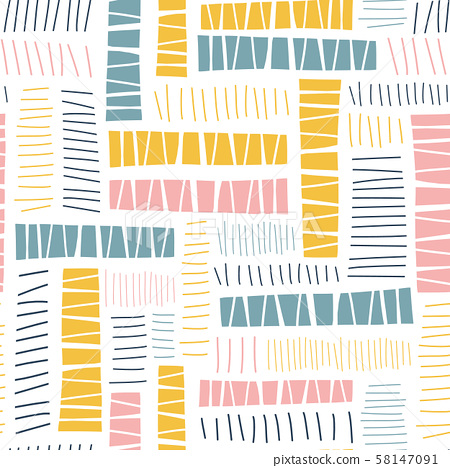 Geometric hand drawn abstract rectangle block shapes seamless vector pattern. Repeating background 58147091