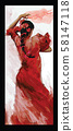 Flamenco spanish dancer woman in red color 58147118