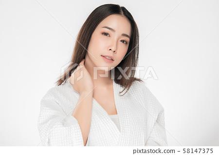 Beautiful Young Asian Woman with Clean Fresh Skin, 58147375