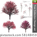 Tree correction design set. 3D Illustration. White 58148459