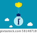 Businessman flying with some balloons and 58148718