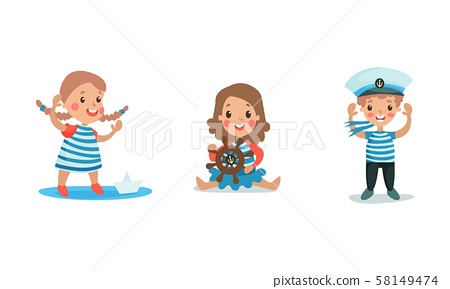 Set Of Vector Illustrations With Three Children Cosplaying Sailors Wearing Suits And Peakless Wisor 58149474