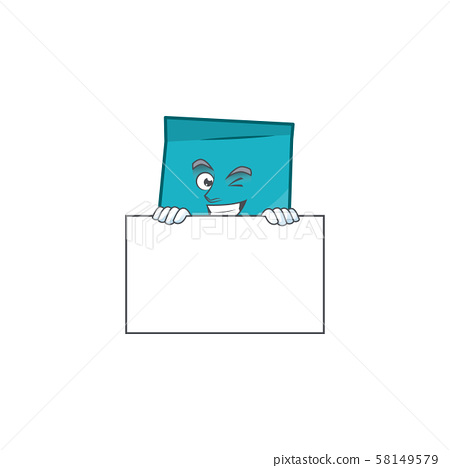 Grinning with board rectangle sticker paper cartoon for work. 58149579