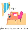 책상과 의자 58157249