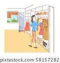 옷장과 여성 58157282