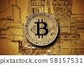 Bitcoin golden coin on computer circuit board  58157531
