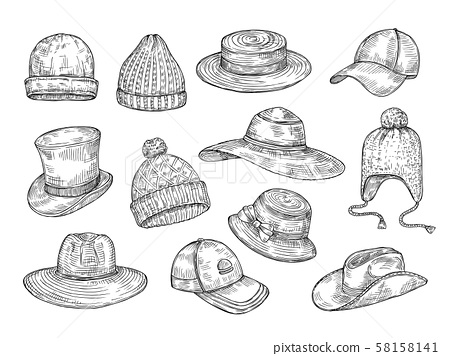 Sketch hats. Knitted winter and summer hats, hand drawn warm cap, doodle headdress accessories 58158141