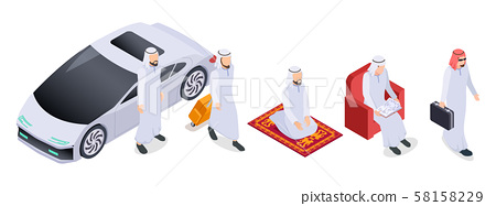 Muslim isometric. Arab 3d people, saudi businessmen in traditional clothes. Arabian isolated vector 58158229