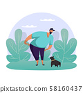 Man playing with dog. Flat guy strolling with pet 58160437