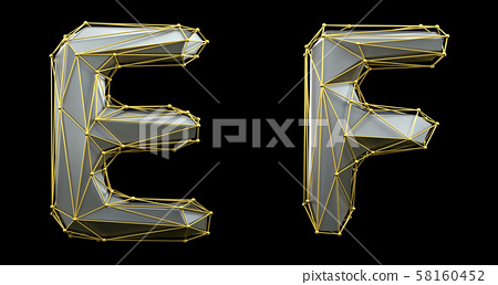 Letter set E, F made of realistic 3d render silver color. Collection of gold low polly style 58160452