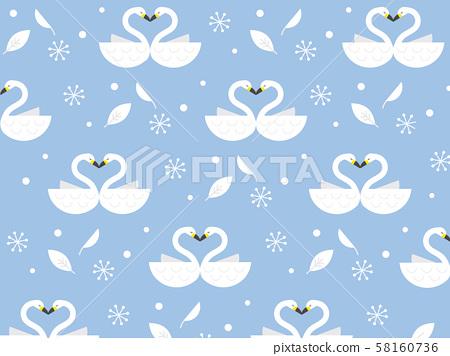 天鵝和雪的無縫背景 58160736