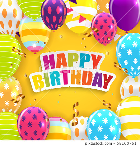 Glossy Happy Birthday Balloons Background Vector 58160761