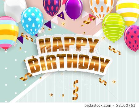 Glossy Happy Birthday Balloons Background Vector 58160763