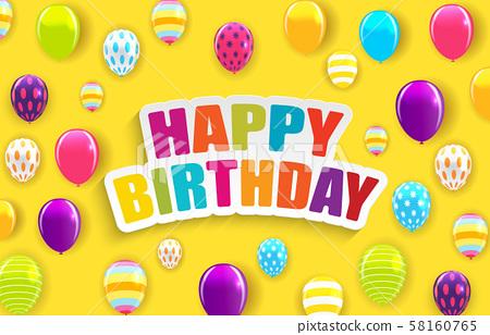 Glossy Happy Birthday Balloons Background Vector 58160765