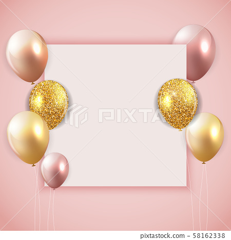 Glossy Happy Birthday Balloons Background with 58162338