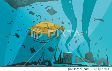 Underwater Pollution Flat Composition 58162763