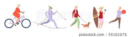 Elderly woman. Active flat happy elderly woman character. Vector female set 58162878