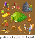 Eco tourism, hiking, summer picnic isometric vector concept 58162946