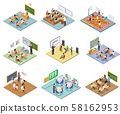 School rooms isometric. Library dining room lecture classroom gym sports hall toilet college 58162953