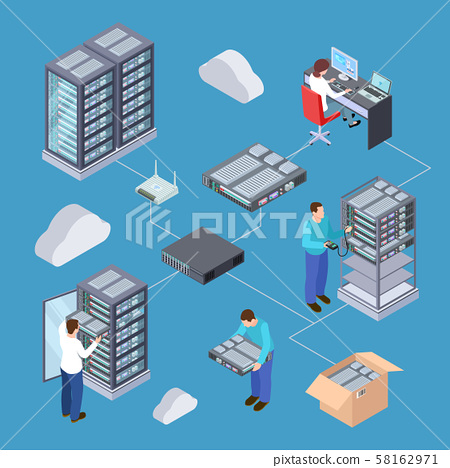Information technology server engineer 3D vector concept. Isometric servers, cloud storage, computer 58162971