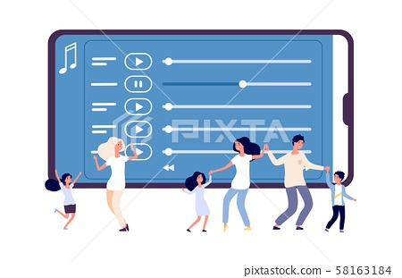 Mobile entertainment. Vector illustration of music application and dancing people. Online radio 58163184