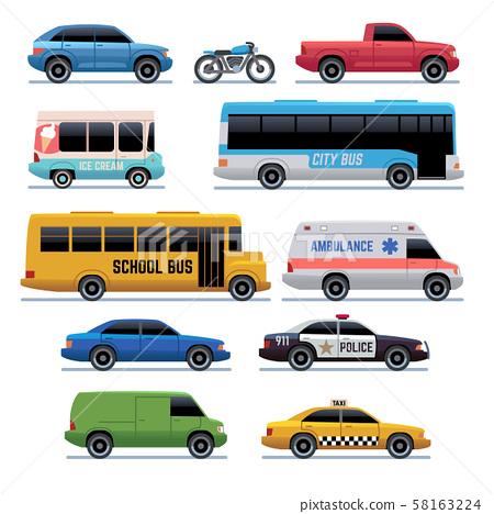 Car flat icons. Public city transport bus, cars and bike, truck. Vehicle vector cartoon symbols 58163224