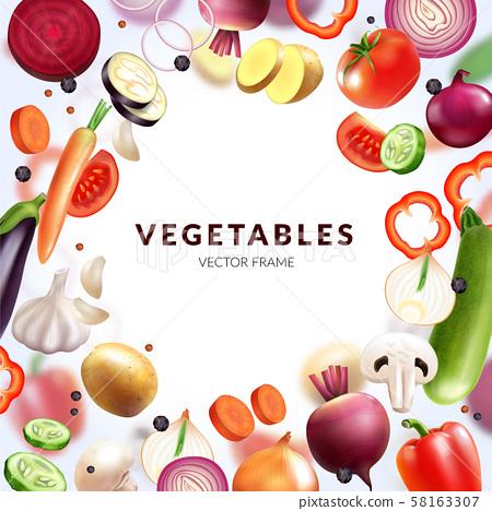 Realistic Vegetables Frame Composition 58163307