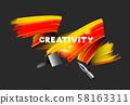 Orange paint brush stroke realistic vector illustration 58163311