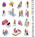 Elderly people isometric. Senior persons, helper nurse. Seniors medical home therapy. People in 58163329