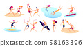 Beach people. Summer vacation family beach active man woman playing sports standing sunbathing 58163396