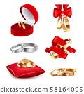 Wedding Rings Realistic Set 58164095