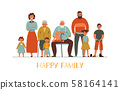 Generations Flat Illustration 58164141
