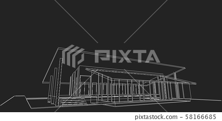 3D illustration architecture building perspective 58166685
