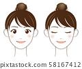 女性面对面的线描 58167412