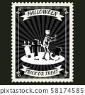 Happy Halloween Postage Stamps with skeleton cemetery, halloween cartoon character symbol. Vector 58174585