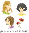 女人的脸和海葵花 58174622