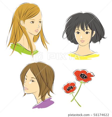 여성의 얼굴과 아네모네 꽃 58174622