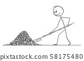 Vector Cartoon Illustration of Man or Businessman Throwing Pile of Coins or Money with Shovel 58175480